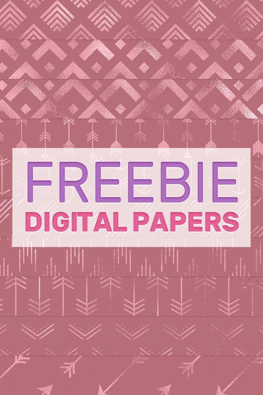 Foil rose gold arrows digital paper freebie